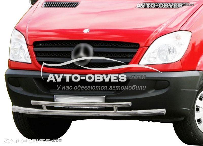 Двойная защита переднего бампера Mercedes Sprinter 2006—2013