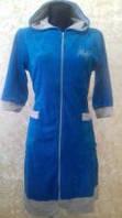 Велюровый халат женский  с капюшоном 44-50, доставка по Украине