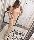 Женский модный костюм косичка с контрастными вставками и молниями (4 цвета), фото 5