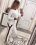 Женский модный костюм косичка с контрастными вставками и молниями (4 цвета), фото 9