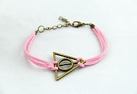 Розовый браслет для девушки на руку ДАРЫ СМЕРТИ и Гарри Поттер