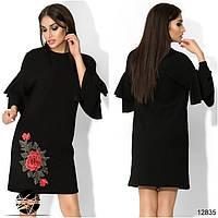 Элегантное платье в рубчик с воланами на рукавах, декорированное оригинальной нашивкой сбоку. Про-во Турция.