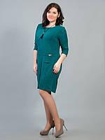 Платье батальное зеленое заклепка