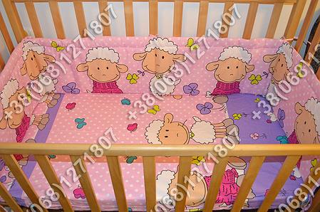 Детское постельное белье и защита (бортик) в детскую кроватку (баранчик фиолетовый), фото 2