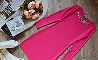 Платье молодежное нарядное декорировано цветными камнями (2 цвета)