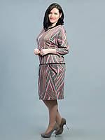 Платье батальное розовое полоска