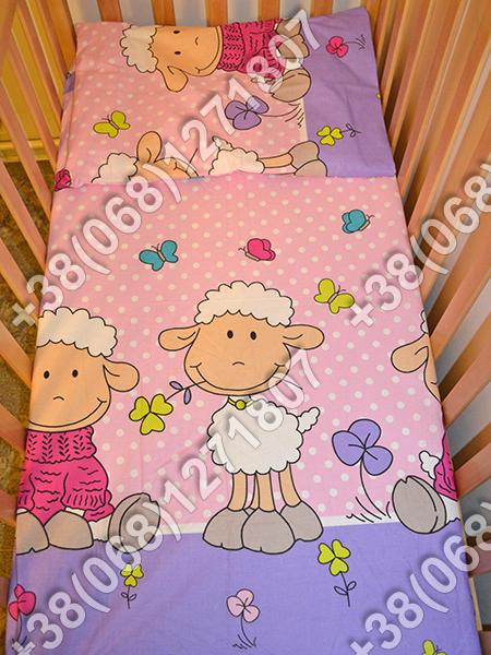 Детское постельное белье в кроватку, постельный комплект (баранчик фиолетовый)