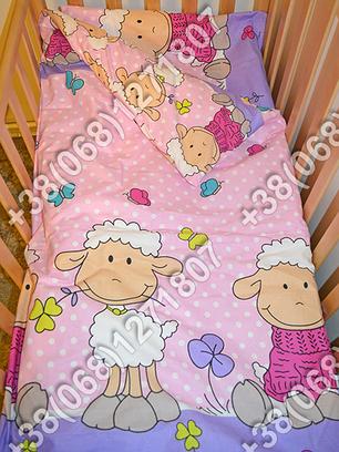 Детское постельное белье в кроватку, постельный комплект (баранчик фиолетовый), фото 2
