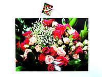Пакет подарочный 35х26х11см Большой горизонтальный Красивый букет роз
