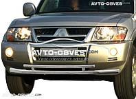 Двойная защита переднего бампера для Mitsubishi Pajero Wagon III 2000—2006