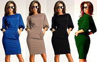 Платье женское туника с поясом и карманами 42 44 46 48 50 Р, фото 1
