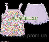 Детский летний костюм р. 80-86 для девочки тонкий ткань КУЛИР-ПИНЬЕ 100% хлопок 3371 Сиреневый 80