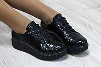 Туфли кожаные черные на шнуровке, носик питон