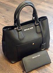 Классическая сумка Майкл Корс с фирменным кошельком черная