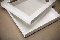 Коробка для пряников 20х17х3см. (с окошком белая)