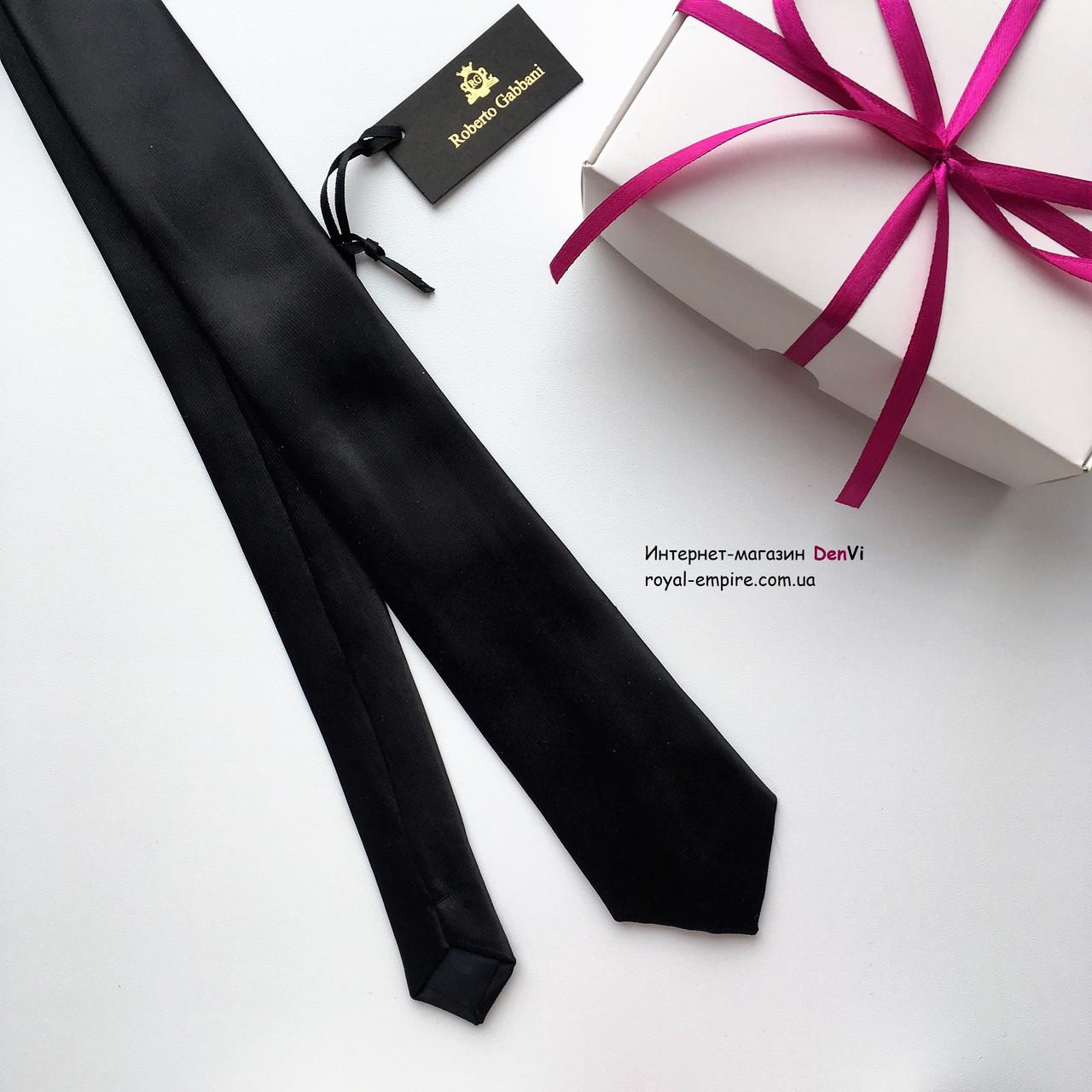 """Вузький краватку """"Лало"""" чорний, в подарунковій коробці. Roberto Gabbanni"""