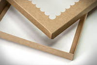 Коробка для пряников 20х17х3см. (с окошком крафт)