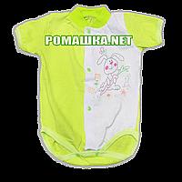 Детский боди-футболка р. 68 ткань КУЛИР 100% тонкий хлопок ТМ Незабудка 3080 Зеленый1