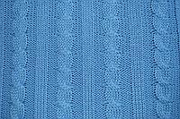 Плед вязанный в Косы Голубой 140х180см ТМ Прованс