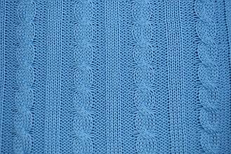 Плед вязанный в Косы Голубой 90х130см ТМ Прованс