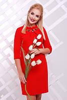 Стильное красное   платье  Бусинка   FashionUp 42-52  размеры