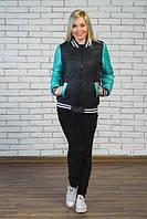 Женская молодежная  куртка-бомбер цвет темно синий + мята  р-42-54