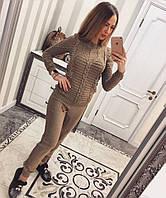 Вязанный женский костюм свитер и штаны