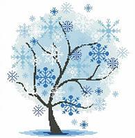 """Алмазная мозаика """"Зимнее дерево"""" (39х40см, 12 цветов)"""