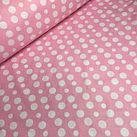 Бязь розового цвета шлифованная с горохом разных размеров №421