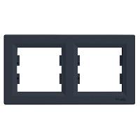 Рамка 2-місна горизонтальна  Asfora (антрацит)