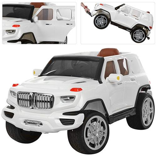 Детский электромобиль BMW M 3276 EBLR белый, элеткроруль, мягкое сиденье, колеса EVA, амортизаторы, двери