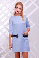 Модное женское голубое платье Кожаный бант   FashionUp 42-48  размеры