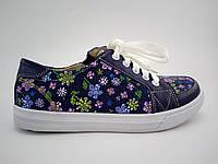 Детские весенние кожаные кеды ботиночки для девочки в цветочек