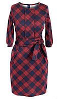 Платье № 1677 красно-синяя клетка