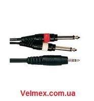 Готовый кабель 1 х мини джек стерео(3,5) ↔2 х джек моно(6,3) BIG YC005 5М