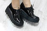 Туфли черный лак, толстая подошва