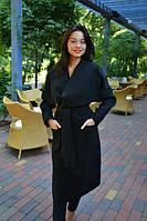 Стильное черное кашемировое пальто с поясом. Арт-9855/83