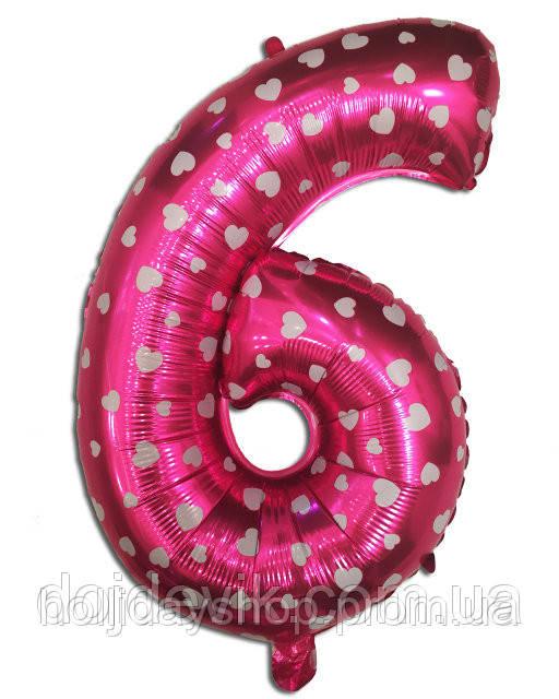 Фольгированная цифра 6 розовая с сердечками 80 х 54 см
