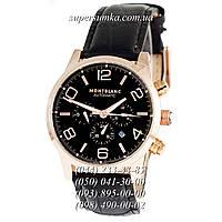 Солидные мужские наручные часы Montblanc TimeWalker Automatic Black-Gold-Black