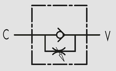 """Дроссель с обратным клапаном VRFU 90° 1/4"""" (Италия), фото 2"""