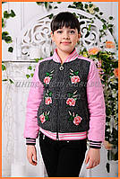 """Детская куртка с цветочной аппликацией """"Доминика"""""""