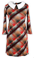 Платье № 3185S красно-коричневая клетка