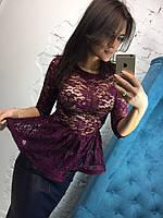 Блуза с баской женская гипюровая в разных цветах