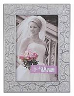 Фоторамка металлическая для свадебного фото 10х15 см