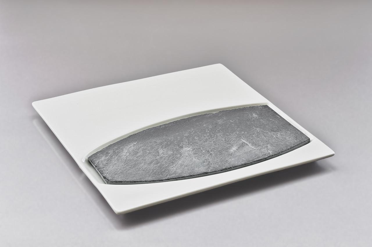 """Тарелка квадратная под овальный камень/бамбуковую подставку 10"""" (25,5см)+Камень овальный 9"""" (23*11,5см)"""