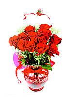 Пакет подарочный ГИГАНТ ВЕРТИКАЛЬНЫЙ 32х42х12см Букет роз в вазе