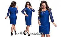Платье женское нарядное гипюр на трикотаже рукав 3/4 размер 50-56