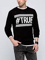 Мужской свитер LC Waikiki черного цвета с белой надписью TRUE