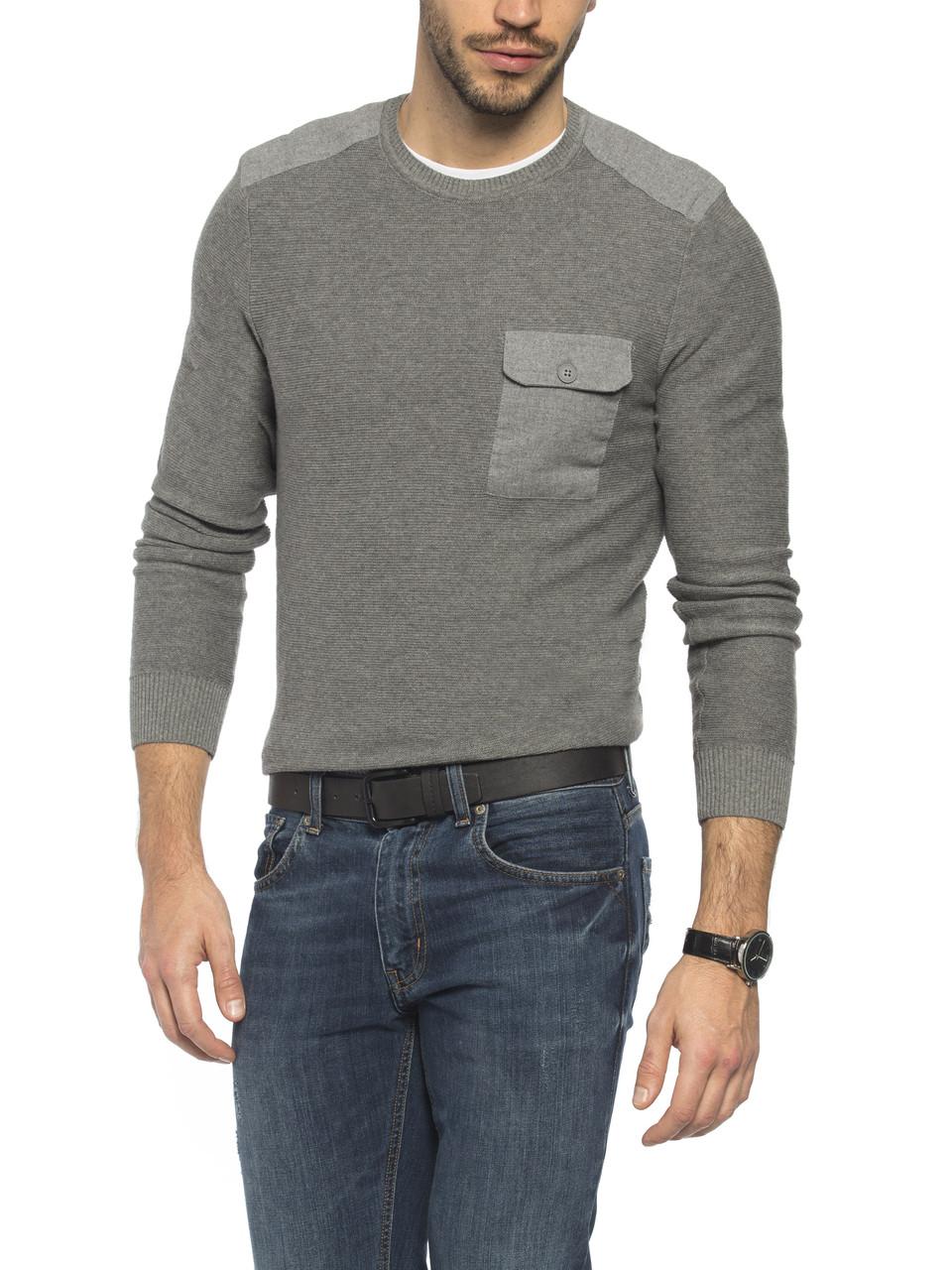 Мужской свитер LC Waikiki серого цвета с карманом на груди