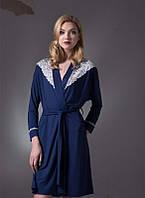 Женский халат из вискозы и кружева темно-синего цвета  LDG 028/001 (ELLEN)